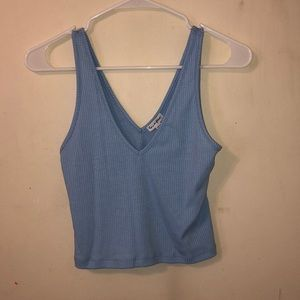 Ribbed Baby Blue Cropped Tank